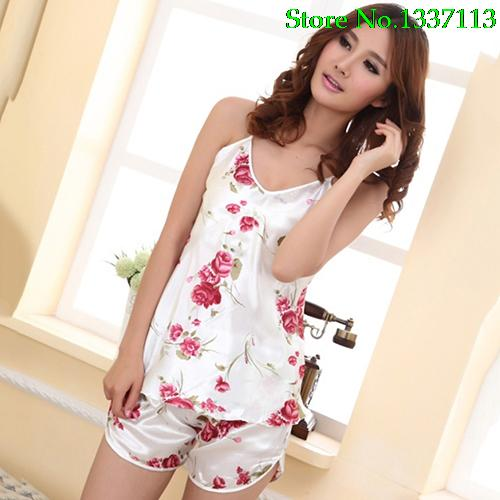 NewWomen s Sexy Floral Sleepwear Braces Shirts Shorts Underwear Pajamas Robes Set 5Q16 8813