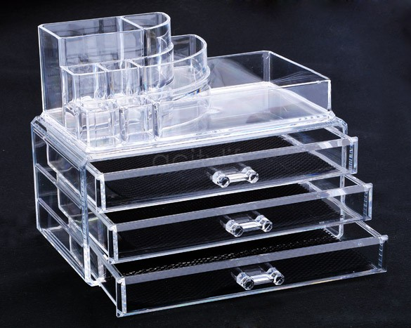 USA Stock 3 Drawers Makeup Cosmetics Organizer Clear Acrylic Drawers Display Storage Box For Jewellery US50(China (Mainland))