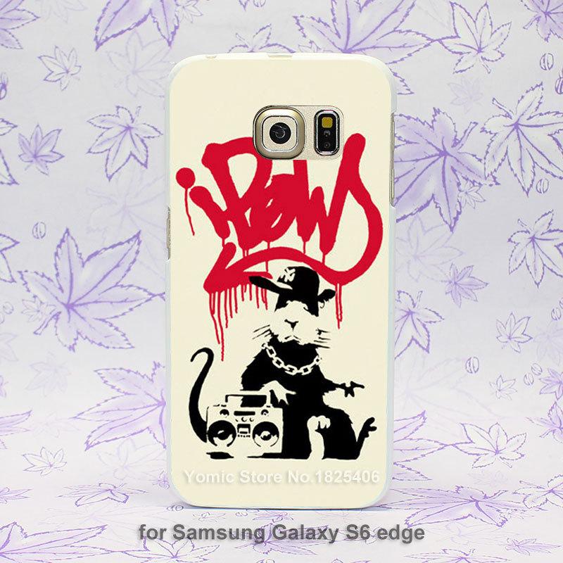 Gangsta Rat banksy graffiti Pattern hard White Skin Case Cover for Samsung Galaxy S3 S4 S5 S6 S6 edge(China (Mainland))