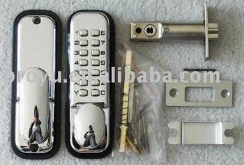 PVD Mechanical Keypad Door Handle Lock PY-8199 Silver