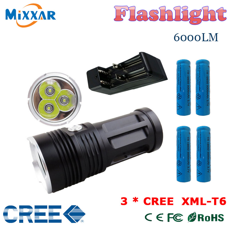 zk30 6000LM 3x Cree XM-L T6 led beads MI-3 Torch tactical flashlight Lantern with 4x18650 5000mAh battery and one charger(China (Mainland))