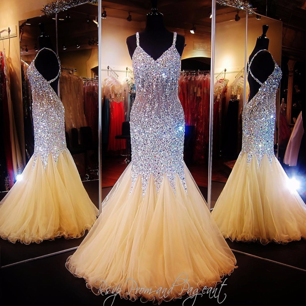 Gold Prom Dress 2016 with Crystal Beaded Robe De Bal ...