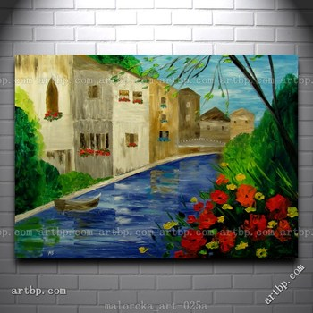 French Flowers Original Oil Painting Knife Malorcka France Town River Art Canvas Painting Large Wall Pictures Dorm Decoration