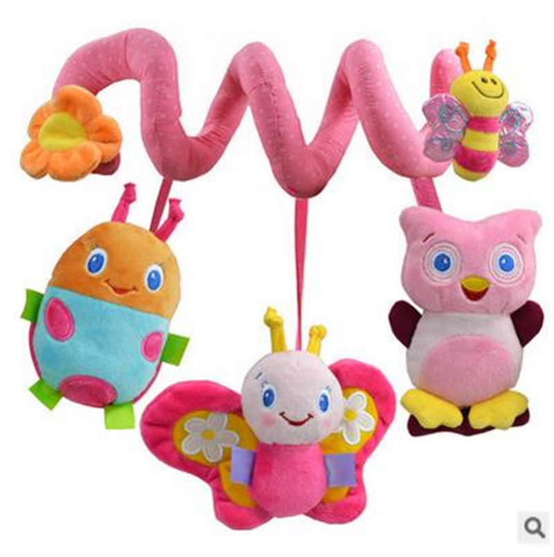 Baby Rattle New Cute Spiral Activity Stroller Car Seat Cot Lathe Hanging Baby Travel Toys Newborn Baby Rattles baby toys(China (Mainland))