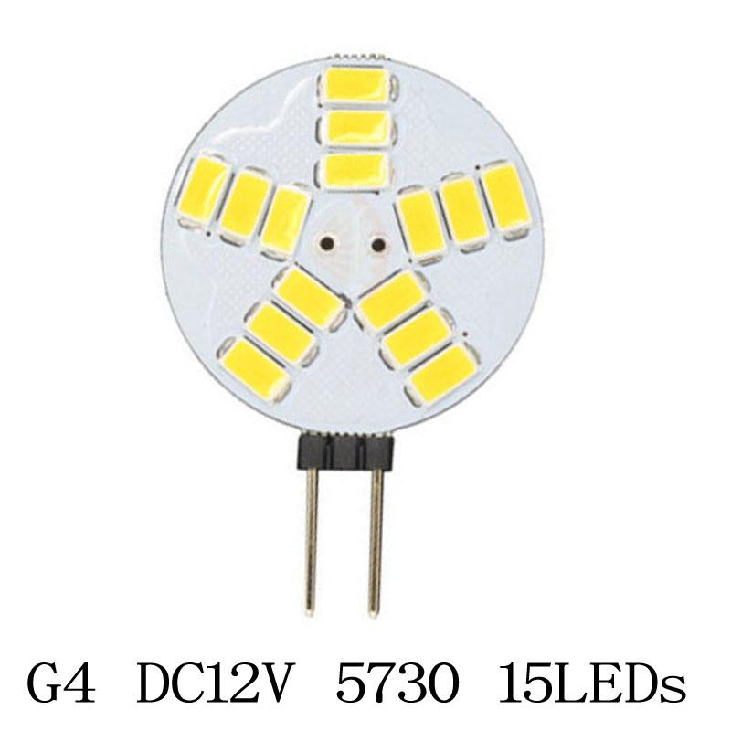 5x G4 5730 5630 15 LEDs 12V Chandelier Crystal lights Home Reading Lamp RV Marine Boat Bulb Cabinet Car Interior Light(China (Mainland))