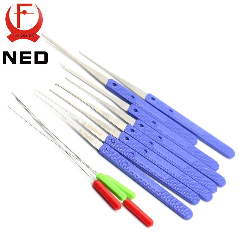 NED High Quality 12 PCS Color Blue Fold Pick Tool Broken Key Remove Auto Locksmith Tool Key Extractor Hardware Handle DIY Tools(China (Mainland))