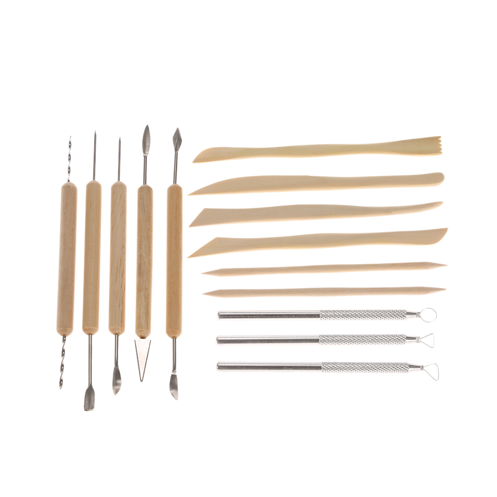 14Pcs Wooden Metal Pottery Clay Molding Sculpture Sculpting Tools Kit With Case Sculpting Drill Retouching Sculpey Tool