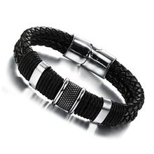 Wholesale 2015 new fashion fine jewelry tide men leather titanium steel bracelets male Vintage bracelet personality gifts TY891(China (Mainland))