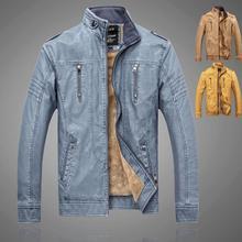 2015 new men leather coat Fashion men's motorcycle jacket leather velvet Winter Leather Jacket