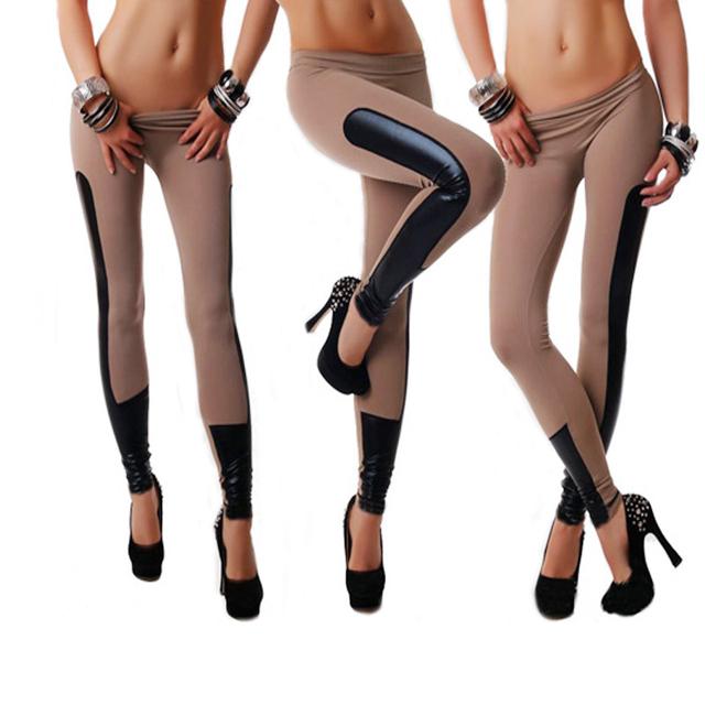 Женская мода Поножи Кожа Лоскутное ПУ Леггинсы Брюки Эластичный Стрейч Фитнес Женщины Брюки Тренировочные Брюки для Женщин