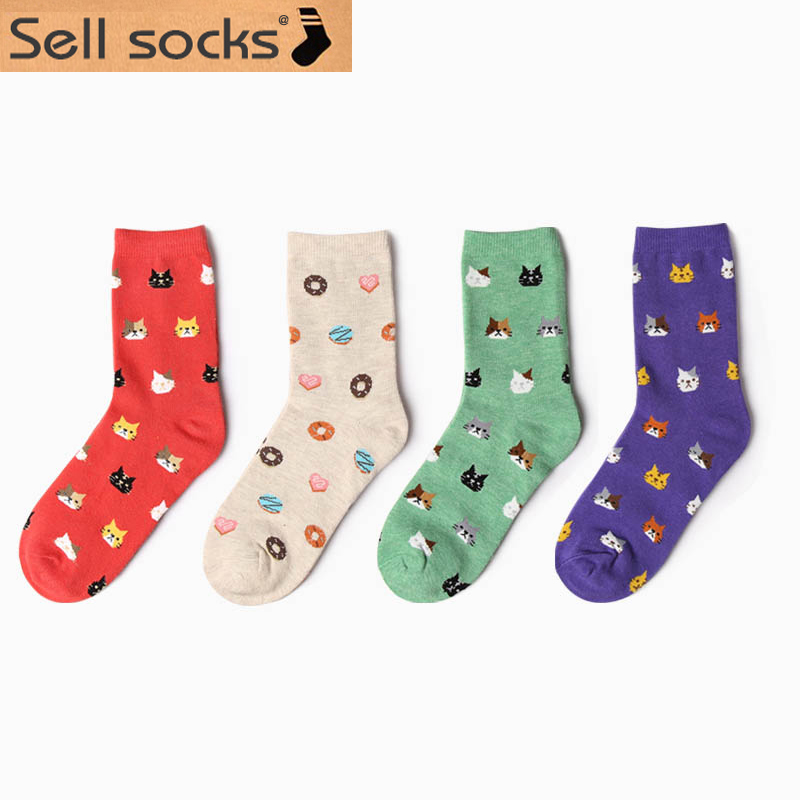 Autumn New 2015 sock Animal cartoon cat lovely for women cotton socks 5 colors size EUR 35-39 HP10(China (Mainland))