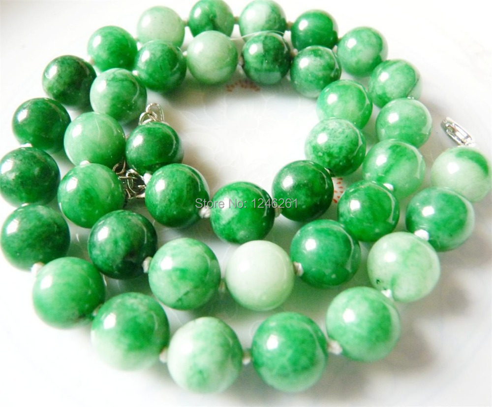 "Charming 10mm Green Emerald Jade Necklace Beads Jewelry Jasper Natural Stone 18"" Wholesale Price(China (Mainland))"