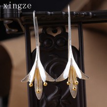 925 Silver Sterling Long Flower Drop Earrings Female High Quality Handmade Flower Earrings Thailand Crafts Wholesale