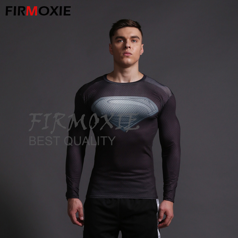 Superman Black Compression Fitness Wear,Comic Superhero 3D Printing GYM Shapewear,Men's Body Sculpting Clothing Coss Fit T-Shirt - FIRMOXIE Store store