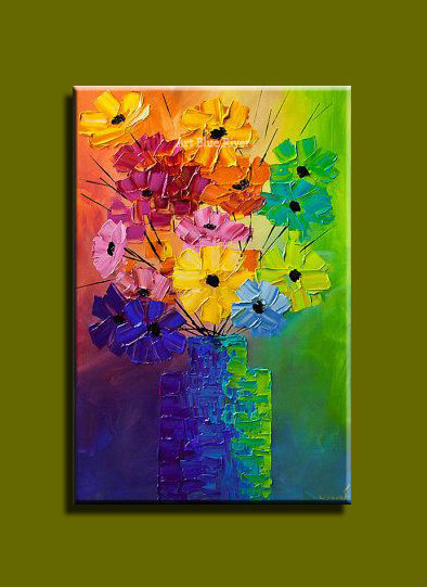Famous hand painted acrylic Abstract modern Knife paint flower canvas wall oil painting on canvas for living room decoration(China (Mainland))