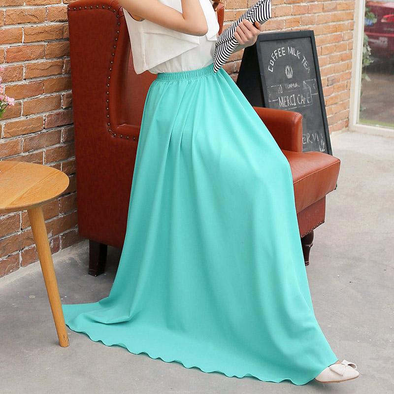 2016 New Summer Style long Skirt Ladies Casual Waist Slim Beach Skirt Pleated Chiffon Skirt ...