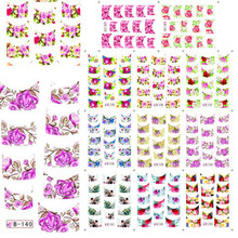 11 Designs in 1 Water Transfer Decals French Wrap Nail Art Stickers Mix Designs DIY Beauty Flower Nail Art Decorations #B133-143