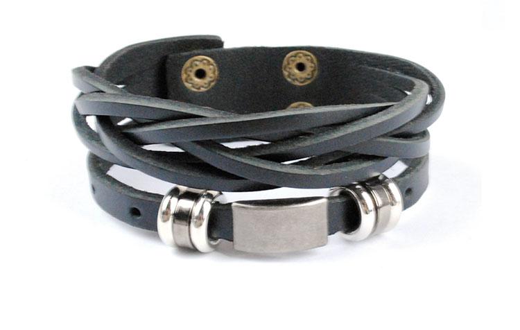 2016 новое поступление высокое качество коричневый и черный кожаный браслет обруча для мужчин мужской ювелирные прохладный браслет из нержавеющей стали