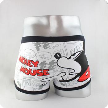High quality 100% cotton cartoon lady and men's Boxer / men underwear Mickey  (white)
