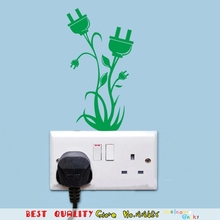 Creative Green Socket Plant Flower Waterproof Wall Stickers, Power Switch Sticker Electrical Wall Interior Decoration Home Decal(China (Mainland))