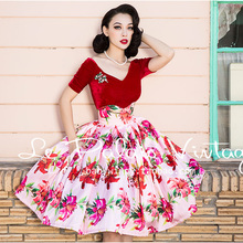 FREE SHIPPING 2015 New Autumn Le Palais Vintage Elegant Vintage Printing Flower Lilies High Waist Pink Blue Fashion Skirt Women