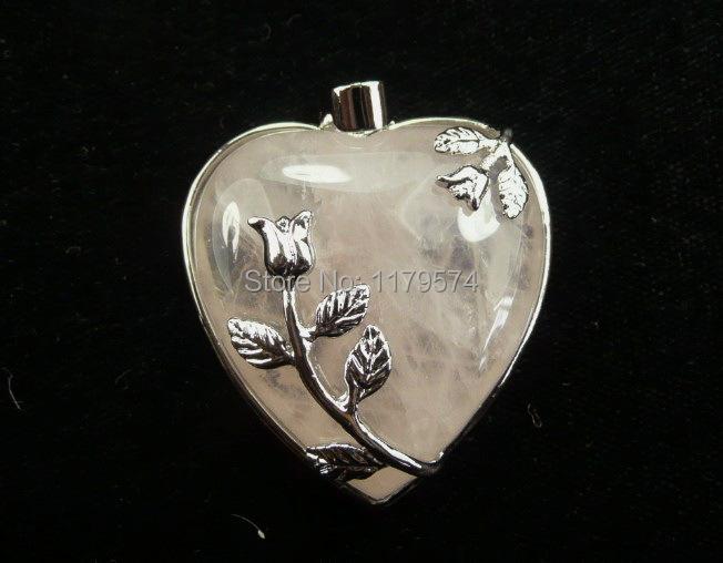 Free hot new Charming 1pcs Set Rose quartz heart pendant 35x32mm AAA sp0182(China (Mainland))