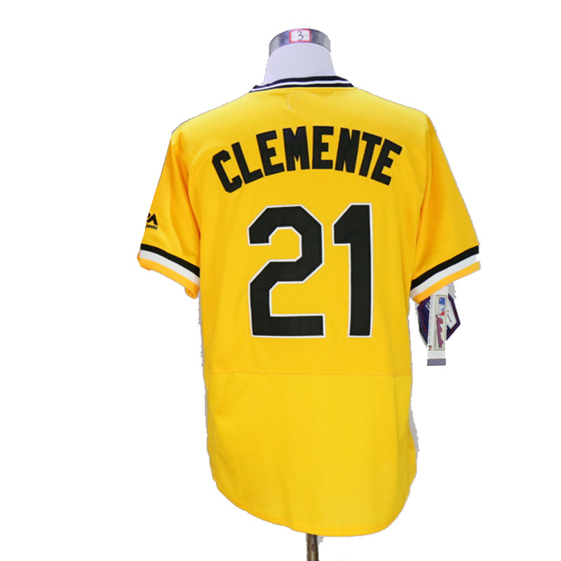New Mens Flexbase Version #21 roberto clemente Jersey shirt Color Gray Yellow White Heat-sealed Tagless Throwback Jerseys(China (Mainland))