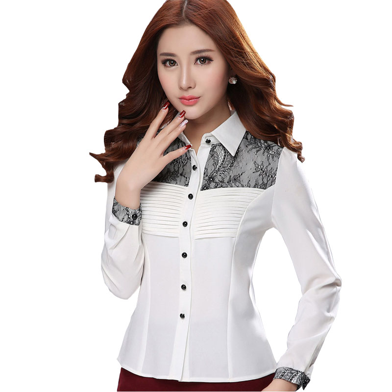 Black Lace Patchwork Lady Chifon Blouses Size S-2XL New Career Style Women Fashion White Shirts Long Sleeve Clothing - Natural Beauty store