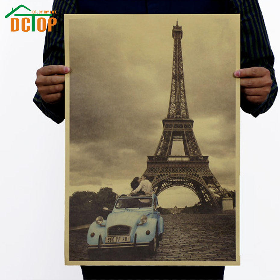 DCTOP New Design Paris Eiffel Tower Poster Cars Romantic Kraft Paper Retro Style Wall Stickers Home Decor For Bedroom(China (Mainland))