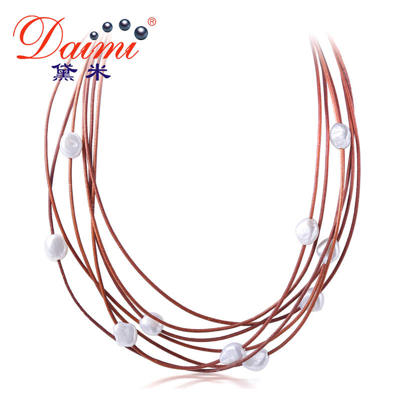 DAIMI 9-10MM Chunky Pearl Necklace 7 Layers Natural White Baroque Pearl Choker Necklace New Real Pearl Fashion Jewelry