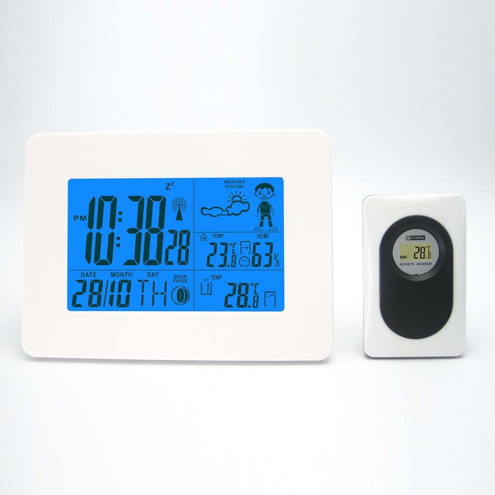 White Weather Station with Digital Clock Barometer/Transmitter Indoor Outdoor Temperature Humidity for Home/Office Free Shipping