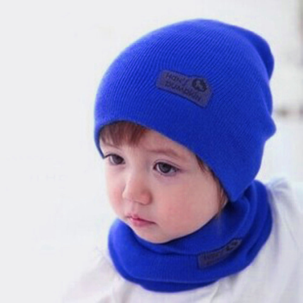 6 Color Casual Baby Hat and Scarf Crochet Child Hat Warm Letter Knitted Kids Hats Solid Wool Winter Baby Caps + Scarf Suits(China (Mainland))