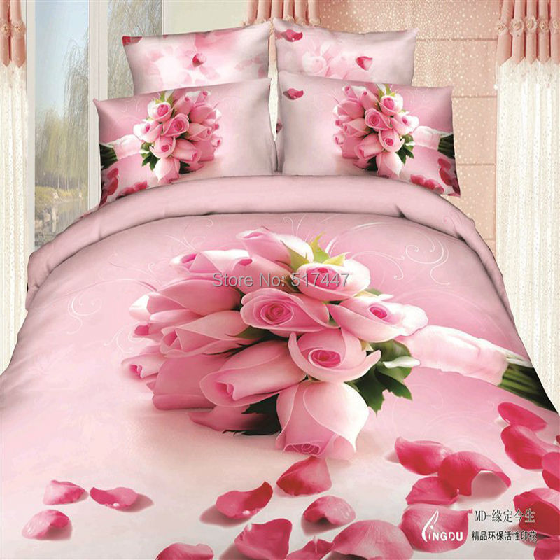 pink red roses flowers bedding sets 4pcs 100%cotton for king queen size duvet quilt bed linen covers 3d bedsheets pillowcases(China (Mainland))