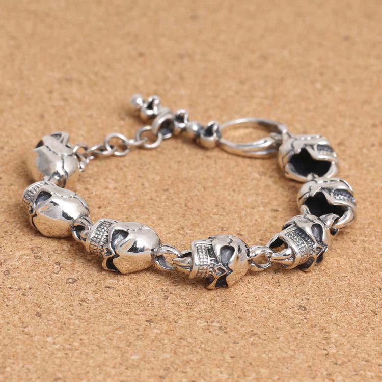 Handcrafted Thailand 925 Silver Skeleton Bracelet Vintage Sterling Silver Skull Head Bracelet Pure Silver Man Bracelet<br><br>Aliexpress