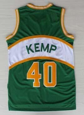 Sale Cheap Men's #40 Shawn Kemp Jersey Green Yellow Red White Stitched Wholesale Shawn Kemp Basketball Jerseys Free Shipping(China (Mainland))