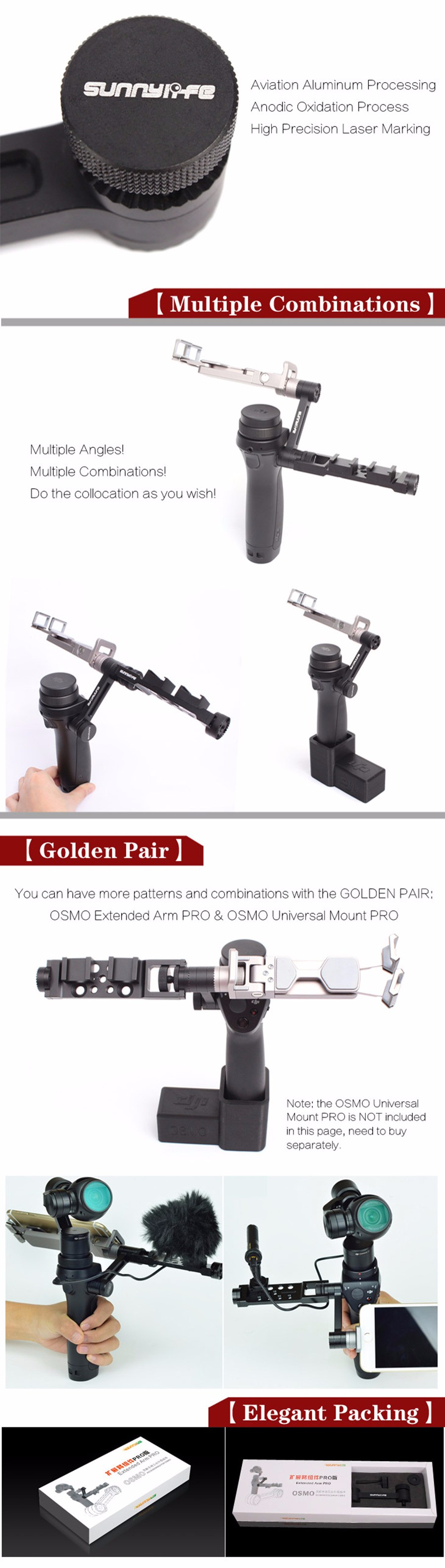 dji osmo accessories CNC Aluminum Pro Version Universal Frame Mount & Extended Arm for DJI OSMO DJI Handheld Gimbal Accessories