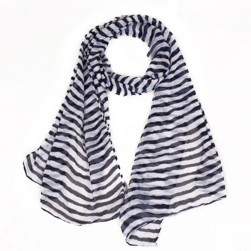 2015 Fashion Classical Black And White Striped Scarf In
