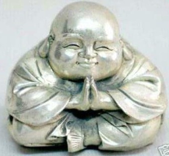B0601 free shipping <<<<< Collectible Tibet silver carved laughing buddha statue(China (Mainland))