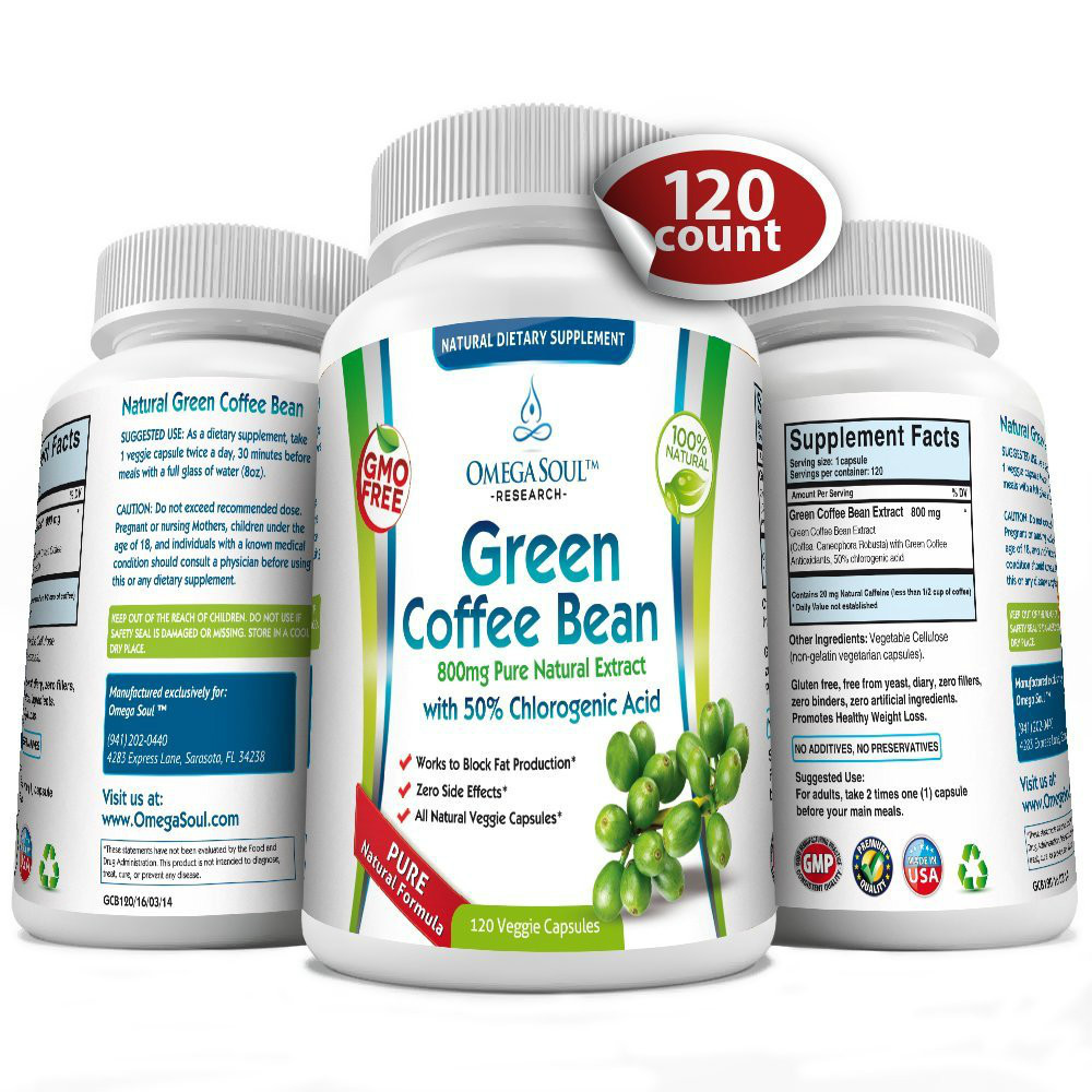 Pure Green Coffee Bean Extract with 50 CGA 800 mg capsule 1600 mg per Serving only