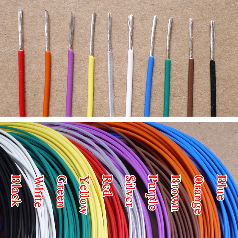 1.8mm 17AWG Silver Plated Teflon Wire Silver Plated Oxyten-Free Copper Cable 19 Strands Color Selectable<br><br>Aliexpress