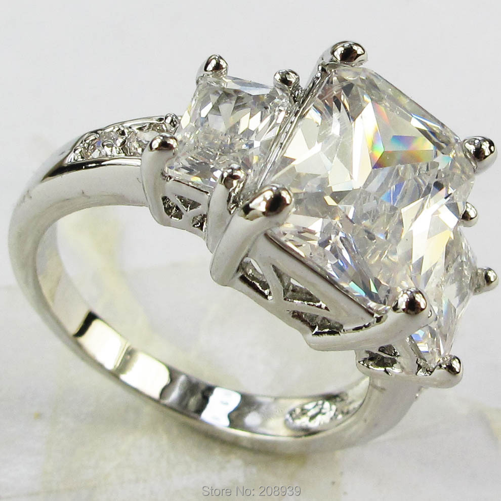 Stunning Fashion 4.8CT Synthetic White Sapphire Zircon Heavy 14K White Gold Plated Ring #1202 Size 6789(China (Mainland))