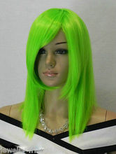Wholesale& heat resistant LY free shipping>>New wig Cosplay Straight Short Bright green Wig