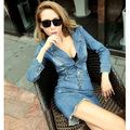 2016 Denim Dress Women s Jeans Dresses Sexy Short Sleeve Summer Blue Casual Cowboy Vestidos Tunic