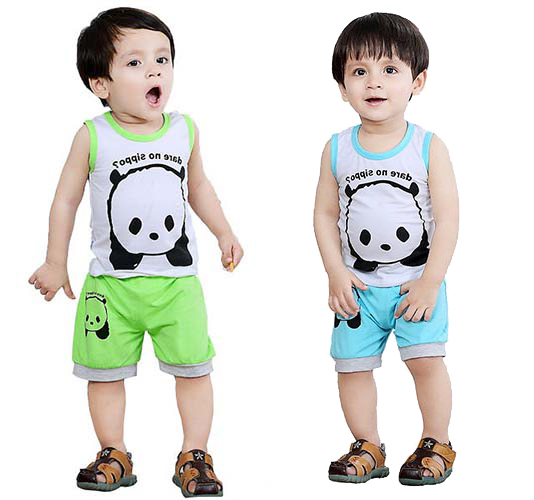 12 18 24 Months panda Summer 1t 2t clothing set baby boy apparel infant clothing cheap toddler baby born boy sports suit child(China (Mainland))