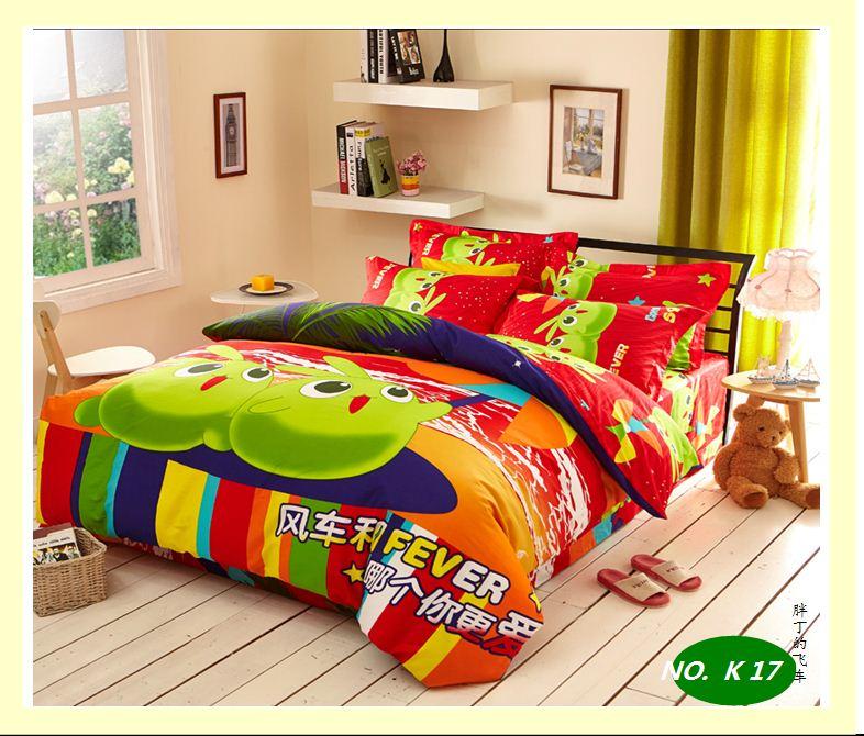 children cartoon cotton kids comforter bedding sets queen king size sheet duvet cover bedspread. Black Bedroom Furniture Sets. Home Design Ideas