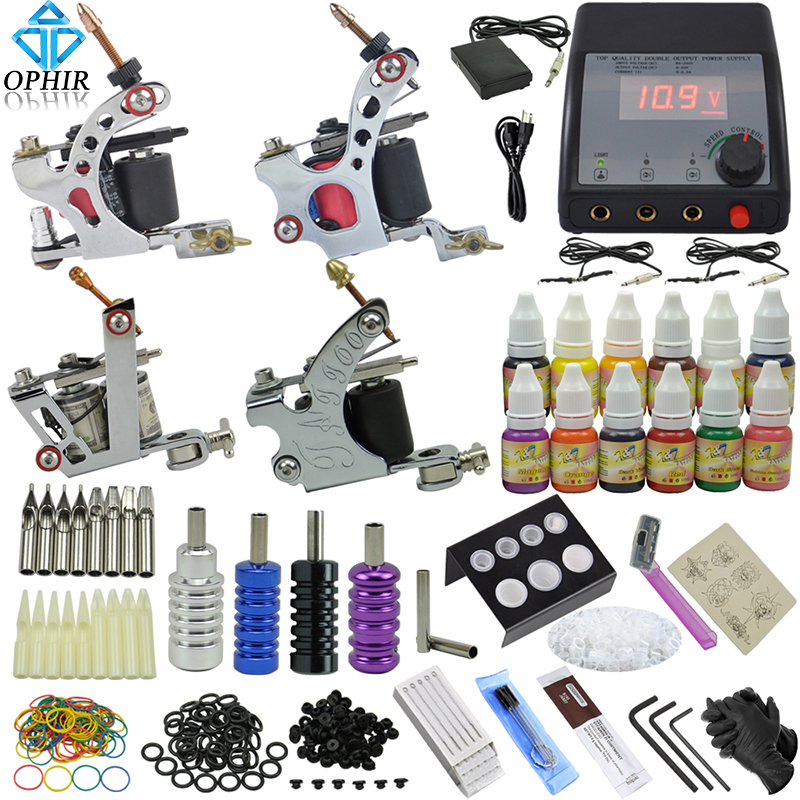 OPHIR Professional 354pcs/set 4 Dragonfly Rotary Tattoo Machine Guns & 12 Color Tattoo Ink & Needle Set Tattoo Nozzle #TA090