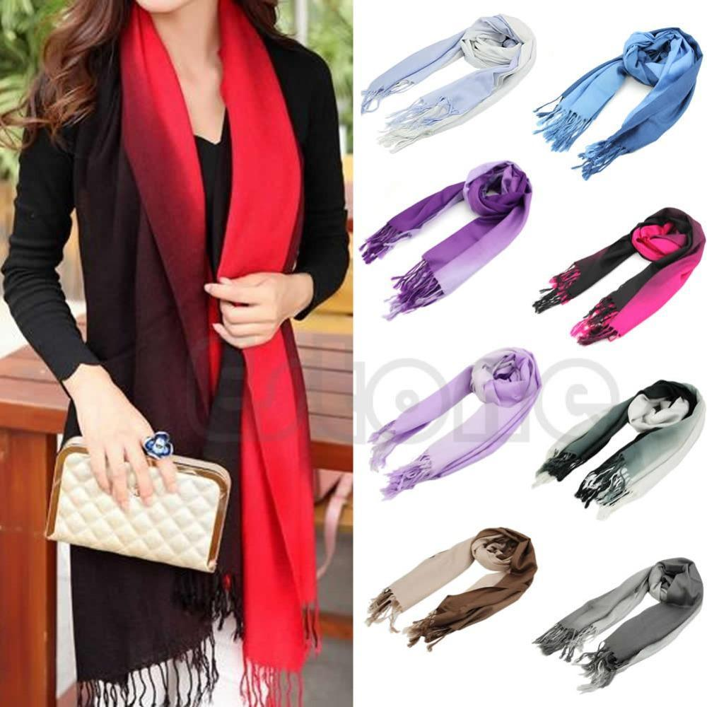 N94 2016 newest Long Stole Pashmina Tassels Gradient Color Wool Shawl Scarves Scarf Wraps For Women free shipping(China (Mainland))