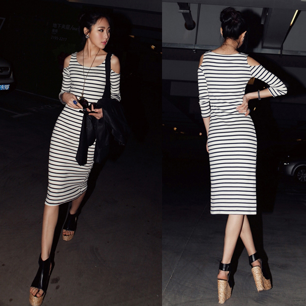 20016 real pictures model 2013 all-match strapless stripe o-neck slim waist long one-piece dress - jim yue's store