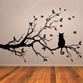 Cat On Tree Branch Birds Wall Sticker Tree Vinyl Wall Decal Adesivi Murali Glass Film Window