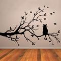 Cat On Tree Branch Birds Wall Sticker Tree Vinyl Wall Decal Adesivi Murali Glass Film Window